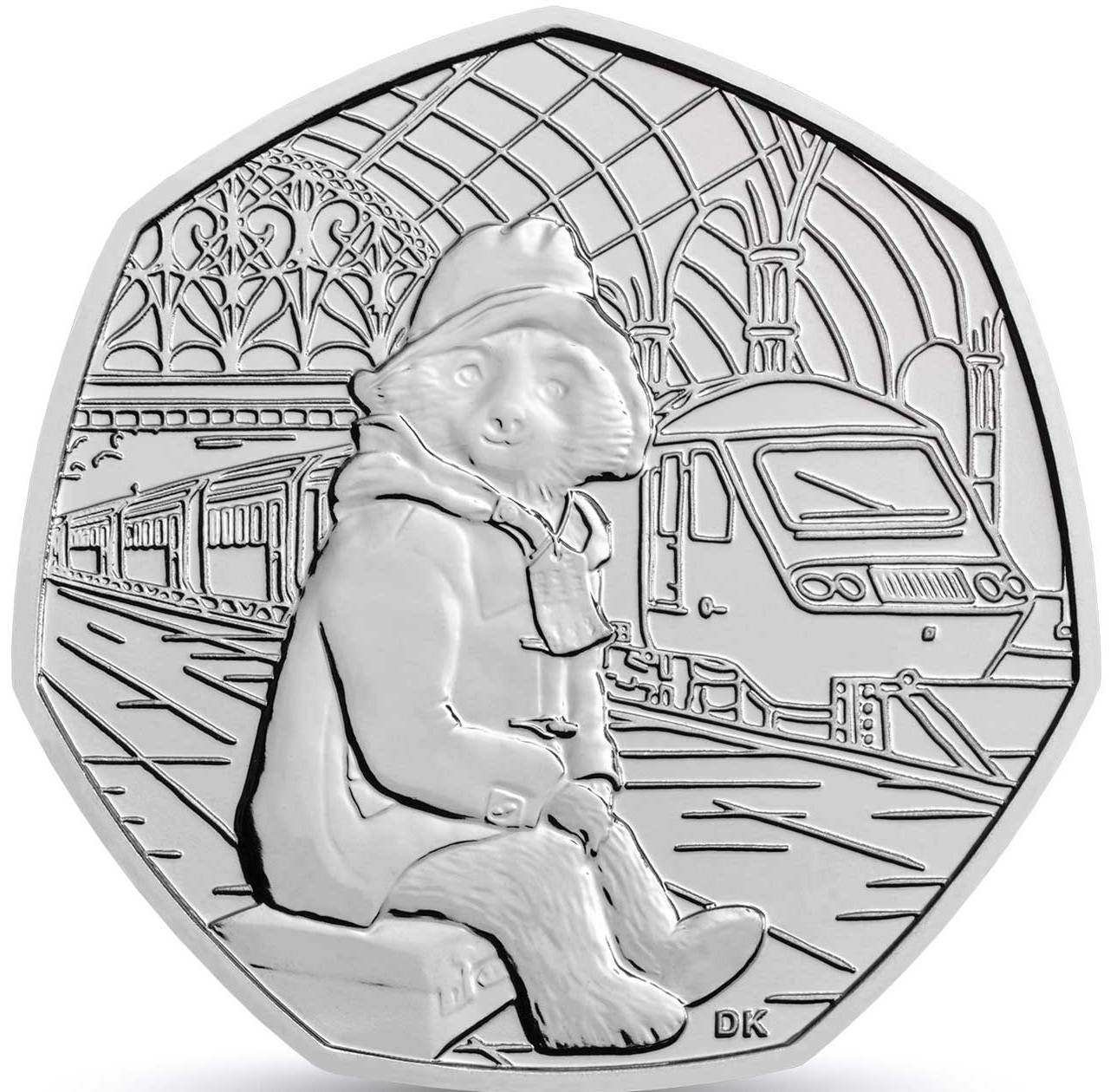 Fifty Pence 2018 Paddington Bear at the Station: Photo Paddington at the Station 2018 UK 50p Brilliant Uncirculated Coin