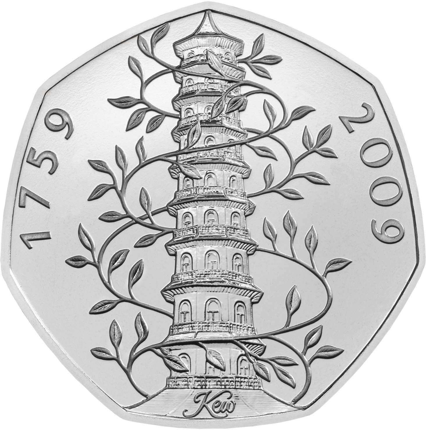Fifty Pence 2009 Kew Gardens: Photo Kew Gardens 50p Brilliant Uncirculated Coin