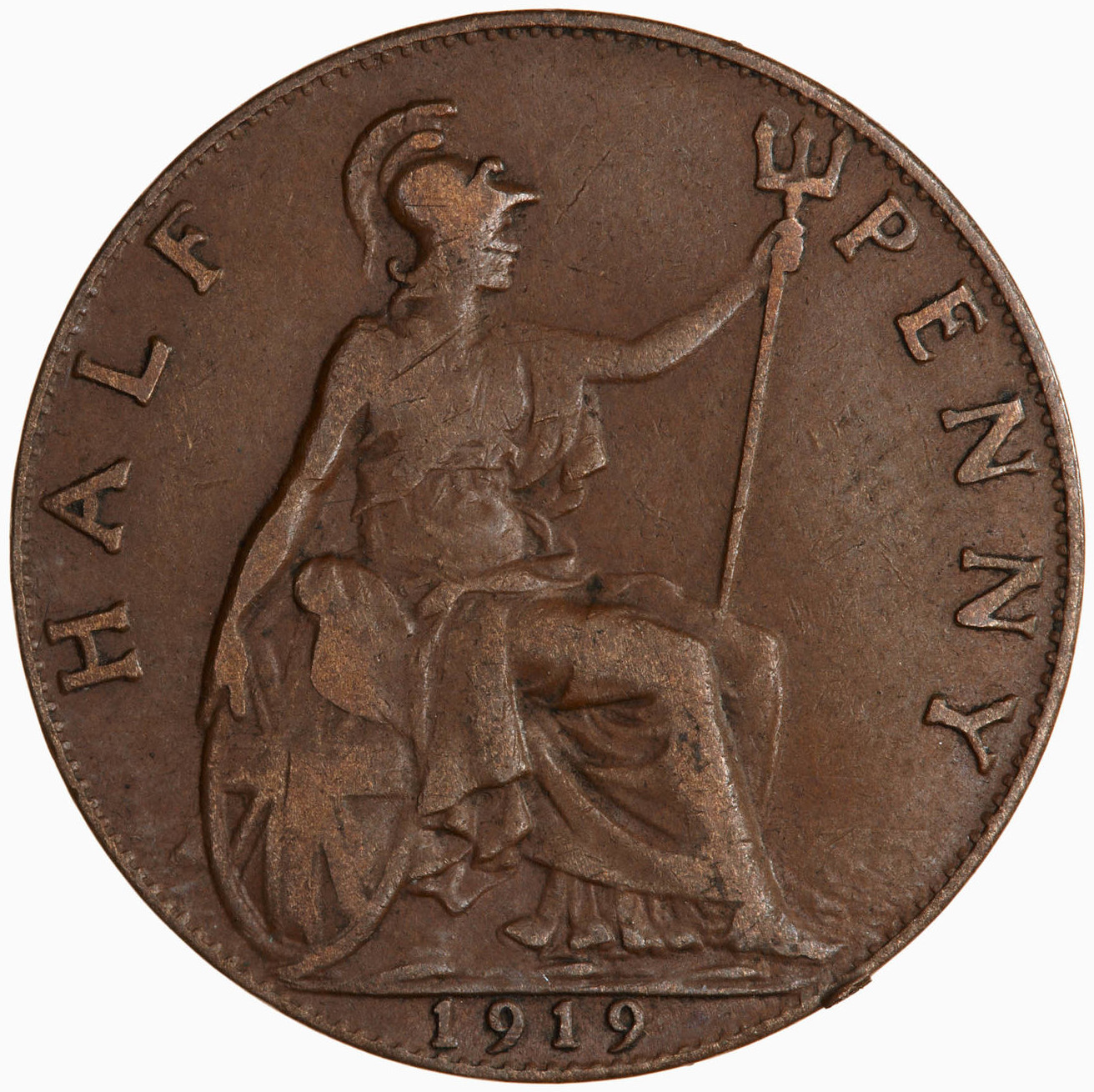 Halfpenny 1919: Photo Coin - Halfpenny, George V, Great Britain, 1919