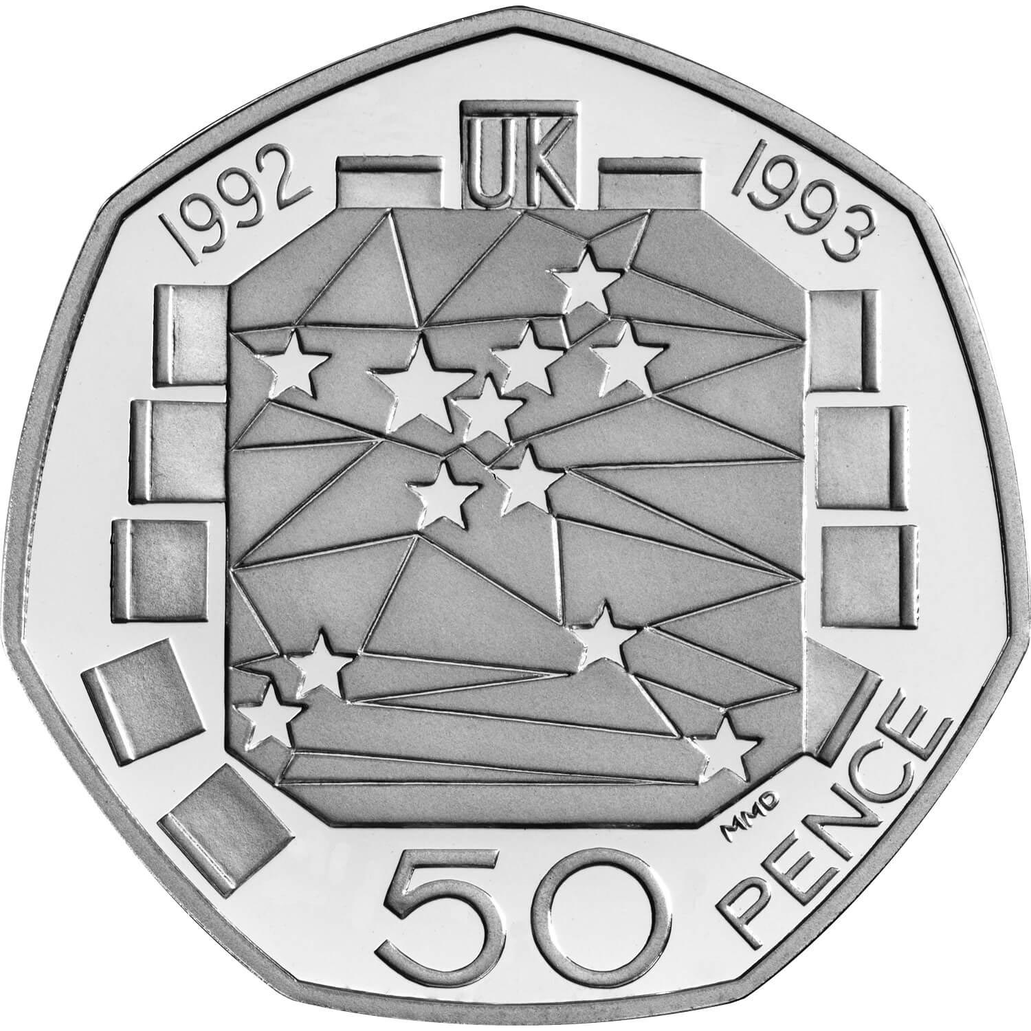 Fifty Pence 1992 Single Market: Photo 50p UK Presidency of the European Community