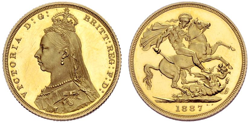 Sovereign 1887 St George, Jubilee head: Photo Great Britain 1887 sovereign