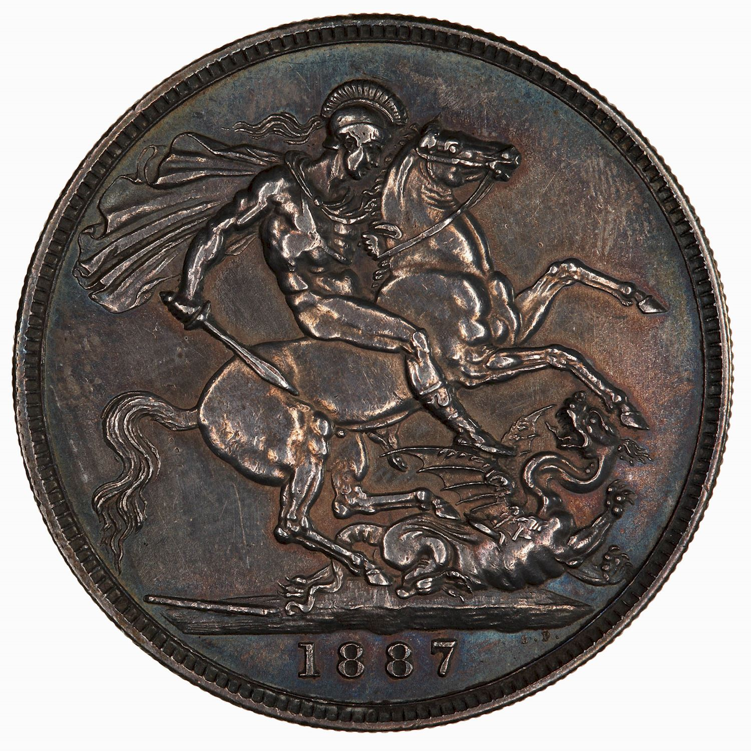Crown 1887: Photo Coin - Crown, Queen Victoria, Great Britain, 1887