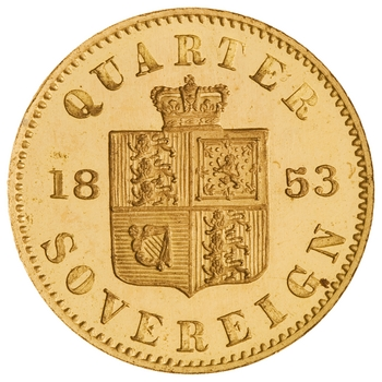 Quarter Sovereign (Pre-decimal): Photo Gold 1/4 Sovereign, Great Britain, 1853