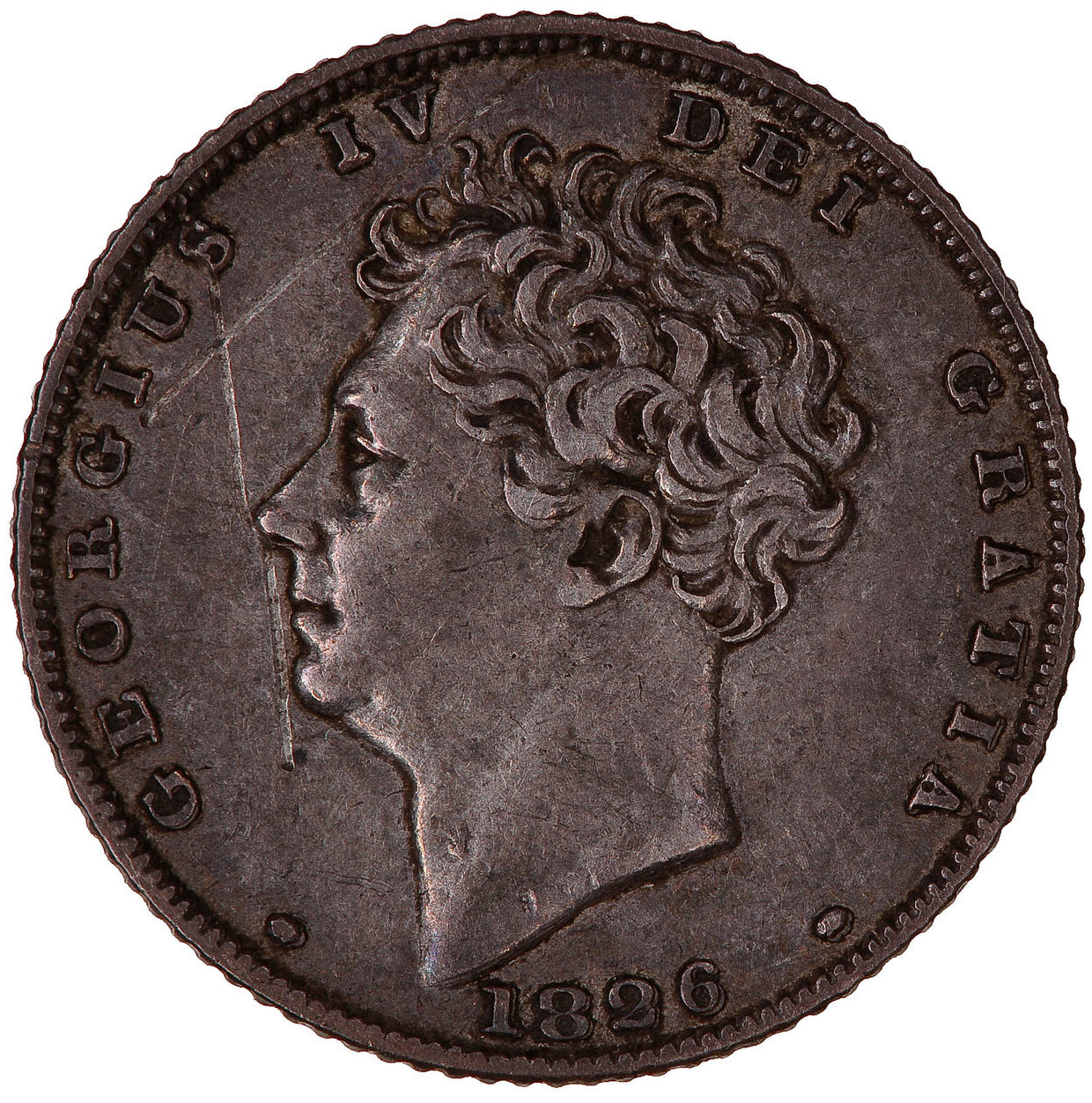 Sixpence 1826 Third Reverse: Photo Coin - Sixpence, George IV, Great Britain, 1826