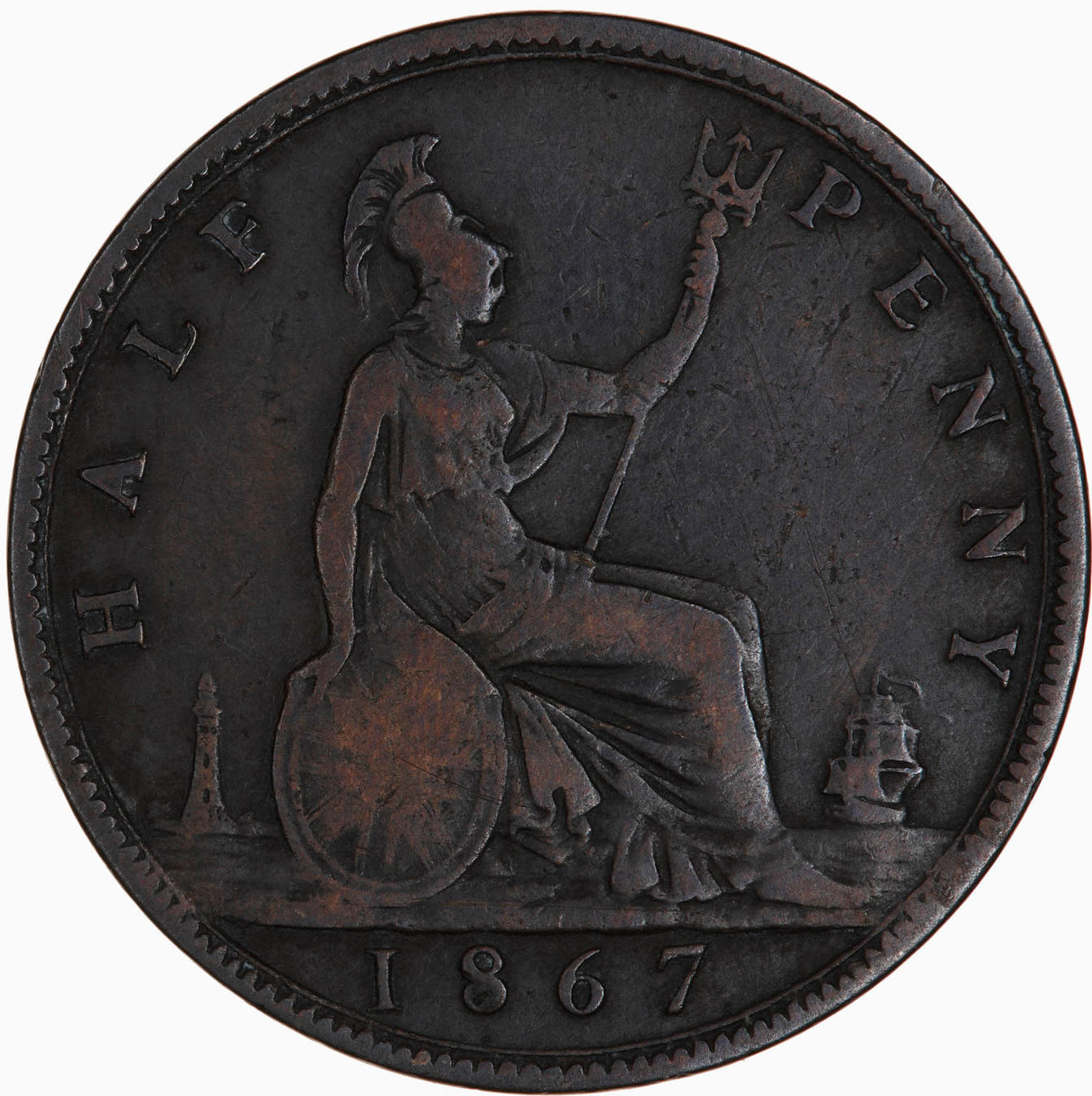 Halfpenny 1867: Photo Coin - Halfpenny, Queen Victoria, Great Britain, 1867