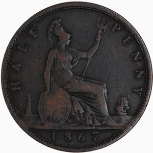 United Kingdom / Halfpenny 1867 - reverse photo