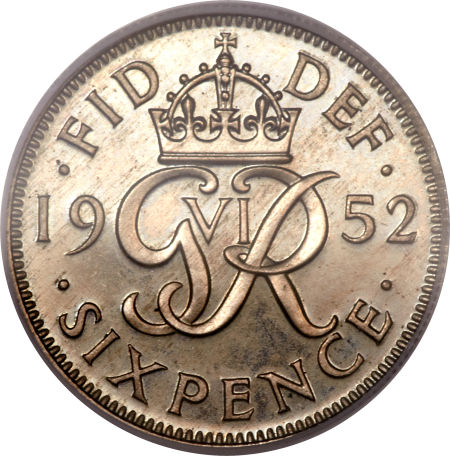 Sixpence George VI (Second Design): Photo Great Britain 1952 6 pence