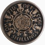 Florin 1953: Photo Proof Coin - Florin, Elizabeth II, Great Britain, 1953