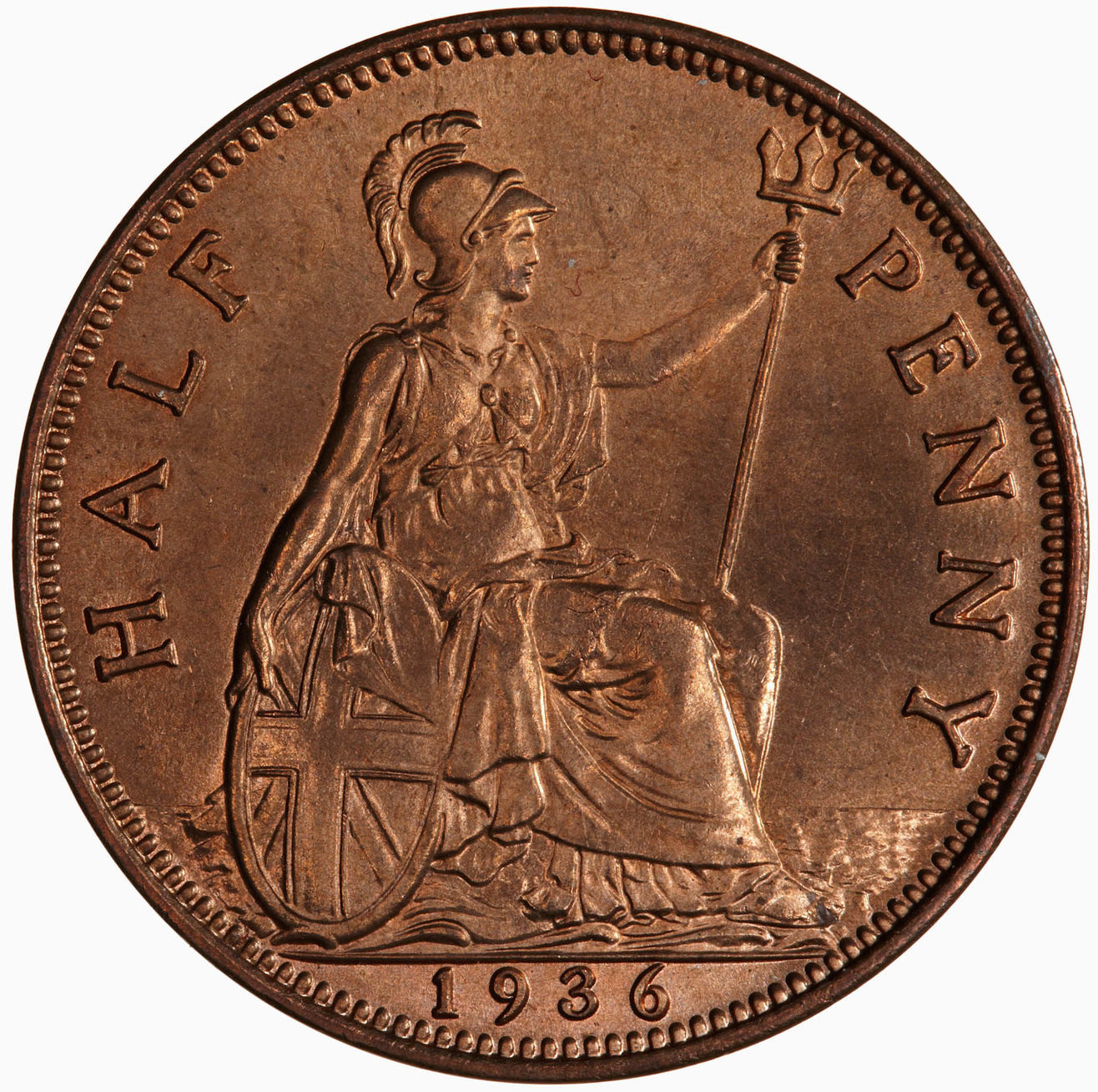 Halfpenny 1936: Photo Coin - Halfpenny, George V, Great Britain, 1936