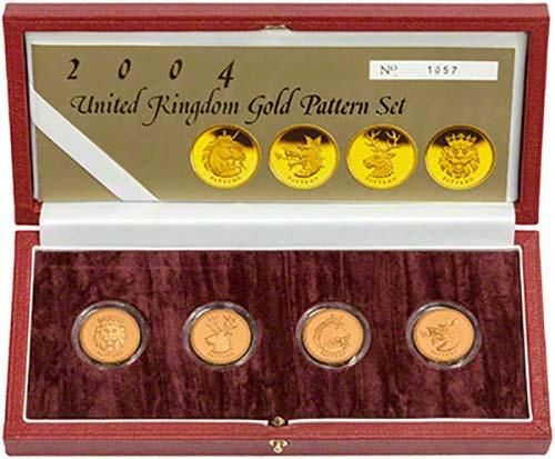 One Pound 2004 White Hart (Pattern): Photo 2004 UK £1 Pattern Set Gold Proof Beasts
