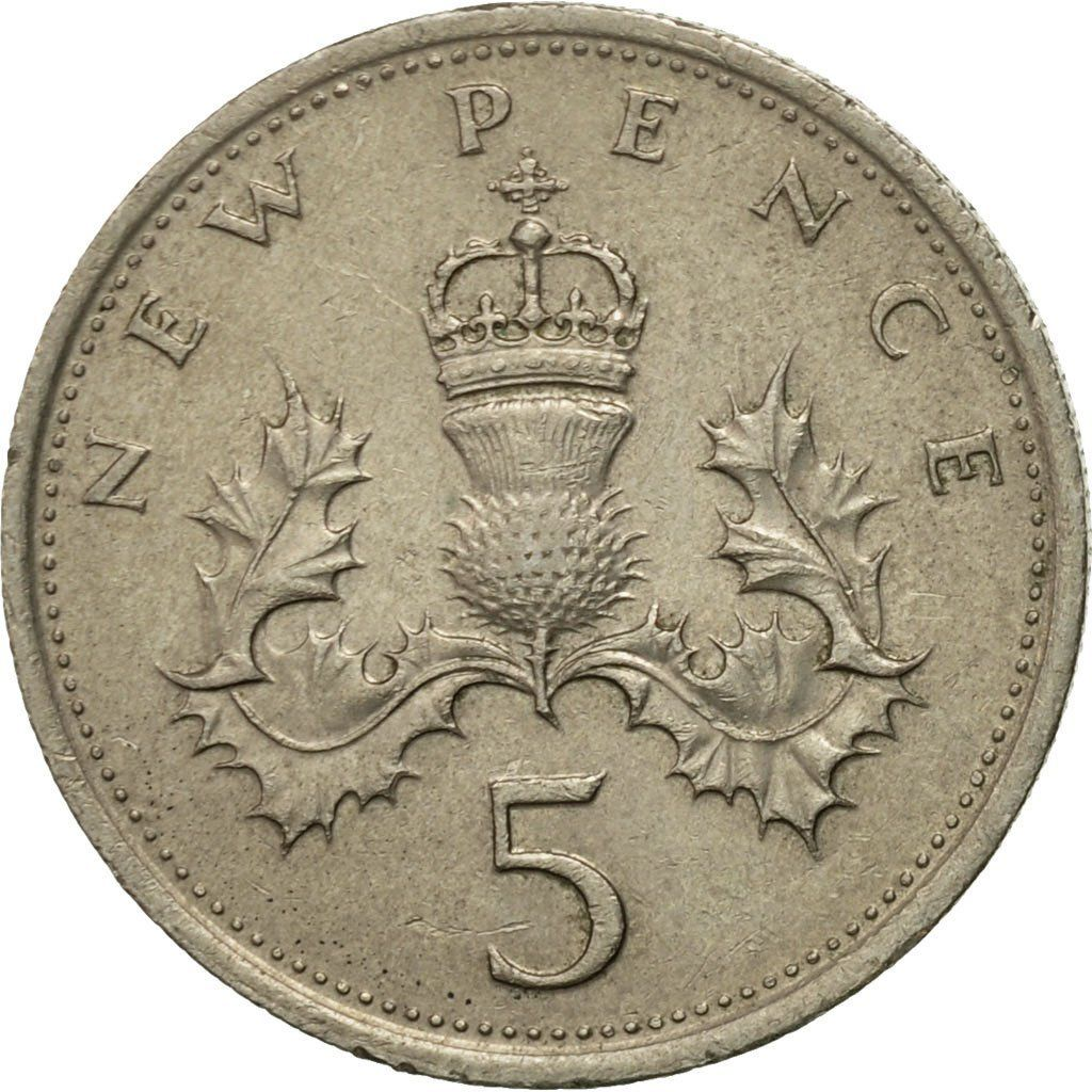 Five Pence 1977: Photo Coin, Great Britain, Elizabeth II, 5 New Pence, 1977