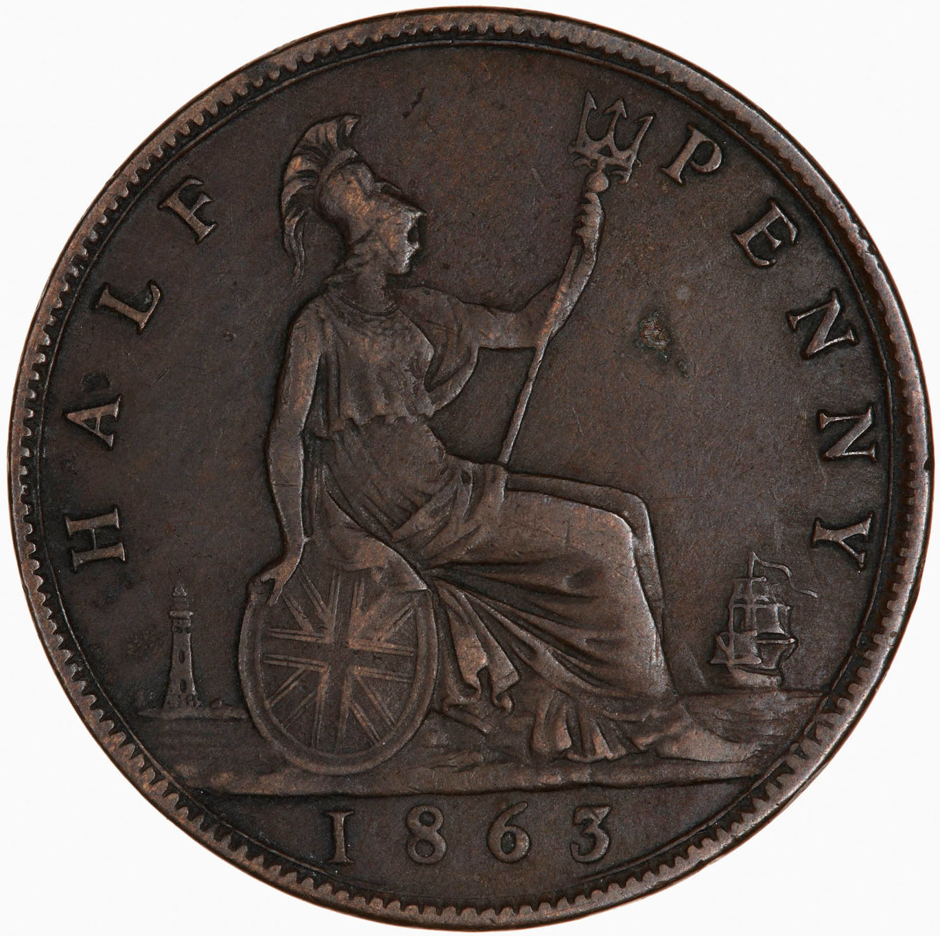 Halfpenny 1863: Photo Coin - Halfpenny, Queen Victoria, Great Britain, 1863