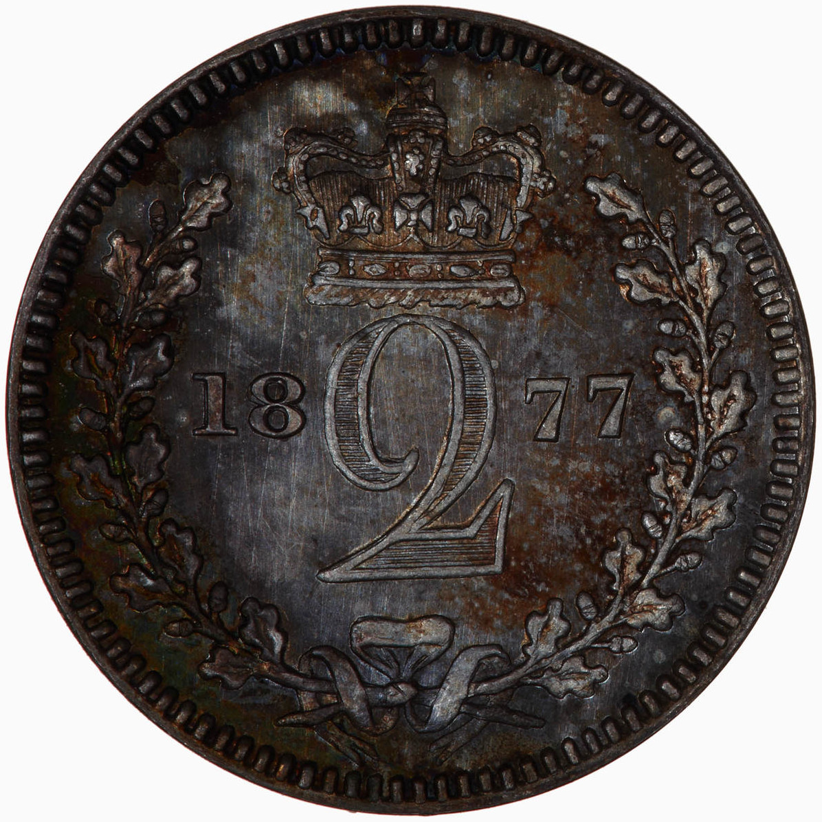 Twopence 1877 (Maundy): Photo Coin - Twopence (Maundy), Queen Victoria, Great Britain, 1877