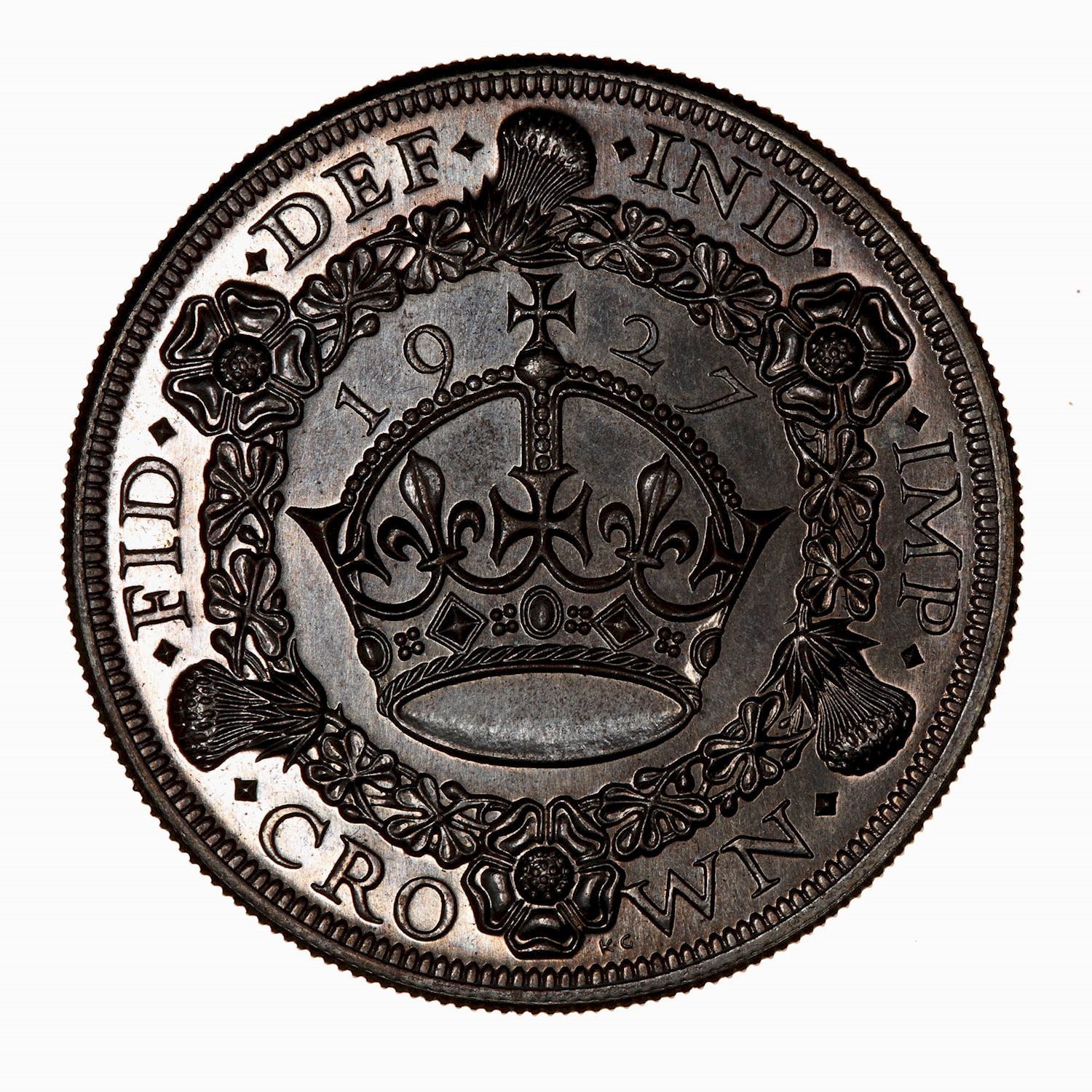 Crown (Wreath): Photo Proof Coin - Crown, George V, Great Britain, 1927