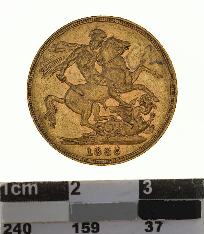 Sovereign 1885 St George: Photo Coin - Sovereign, Victoria, Australia, 1885