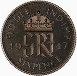 Sixpence 1947: Photo Proof Coin - Sixpence, George VI, Great Britain, 1947