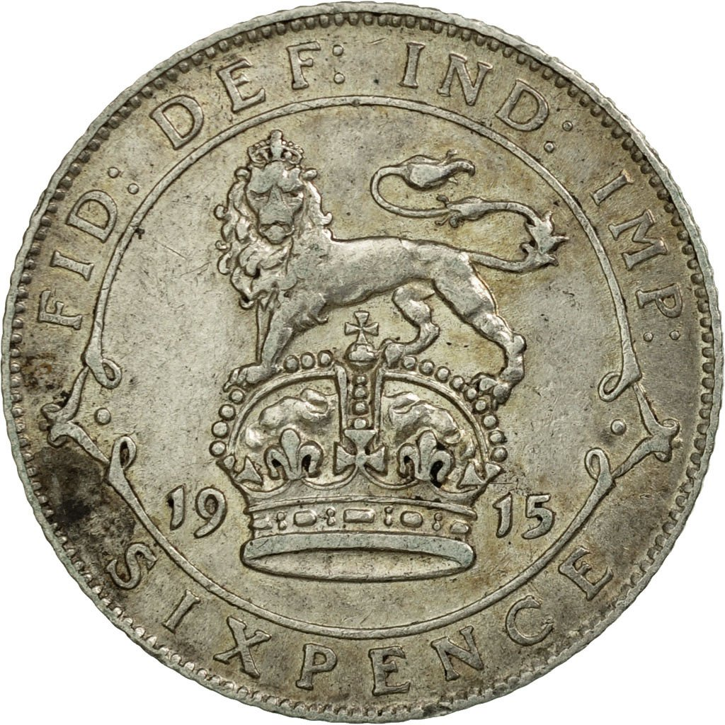 Sixpence 1915: Photo Coin, Great Britain, 6 Pence, 1915