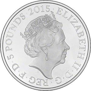 United Kingdom / Five Pounds 2015 Battle of Waterloo (Fifth Portrait) - obverse photo