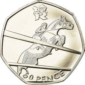 United Kingdom / Fifty Pence 2011 - London 2012 - Equestrian - reverse photo