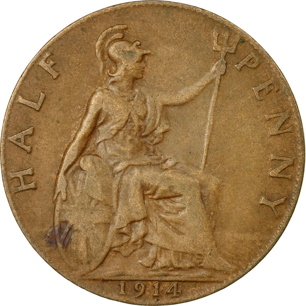 Halfpenny 1914: Photo Coin, Great Britain, 1/2 Penny, 1914