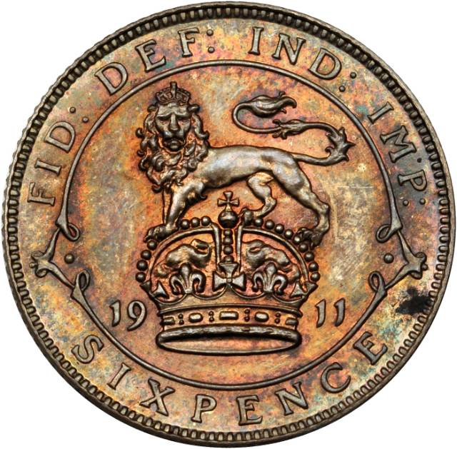 Sixpence Lion on Crown (Sterling Silver): Photo Great Britain 1911 6 pence