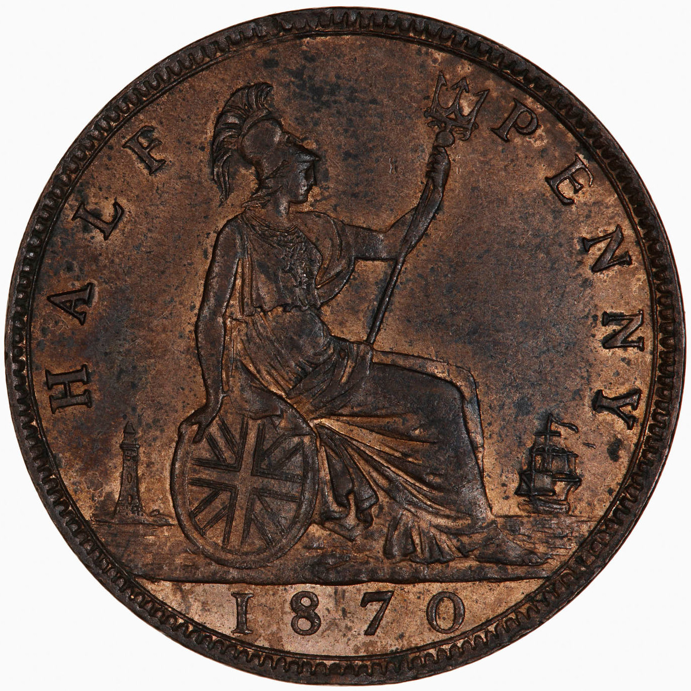 Halfpenny 1870: Photo Coin - Halfpenny, Queen Victoria, Great Britain, 1870