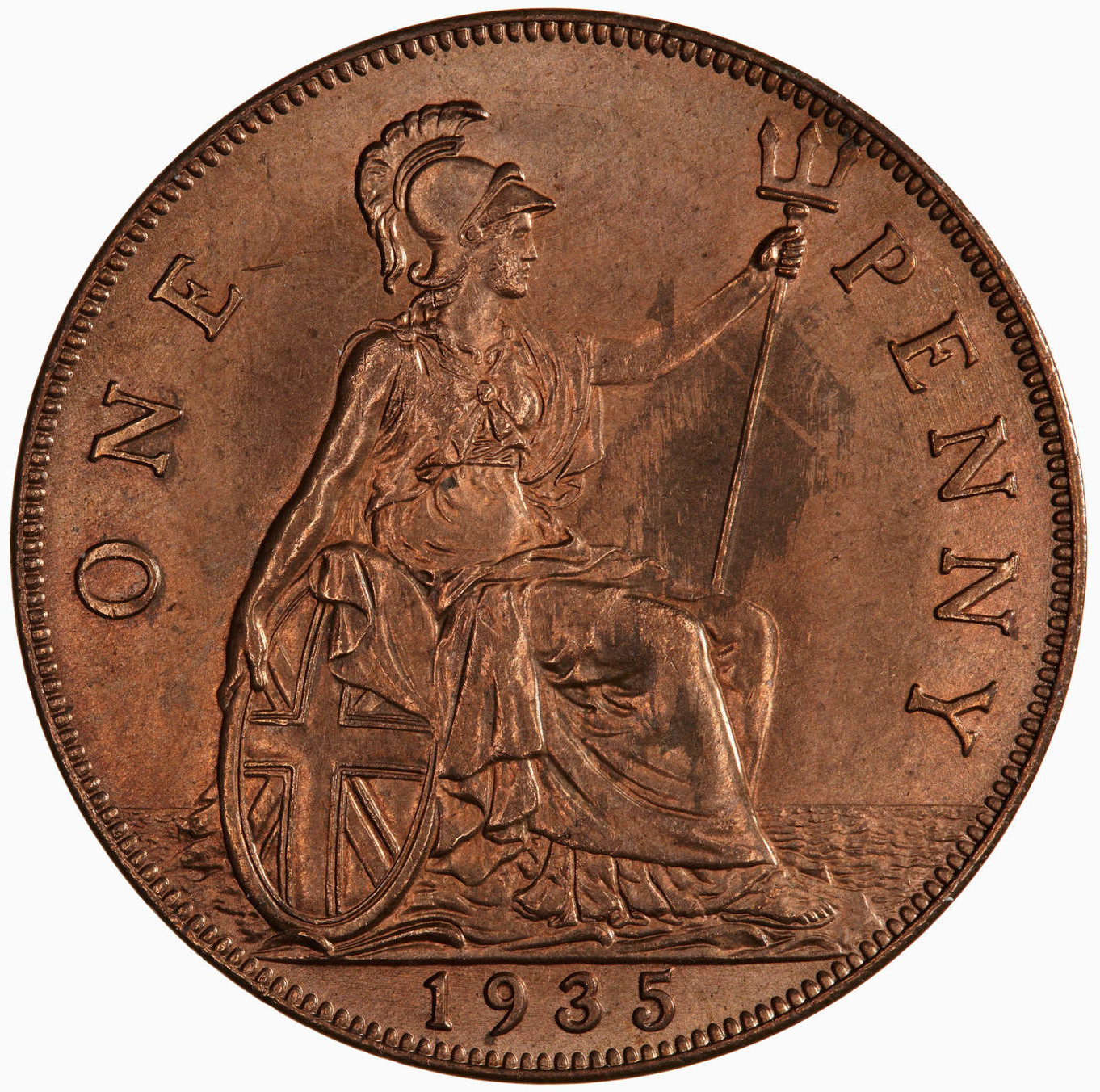 Penny 1935: Photo Coin - Penny, George V, Great Britain, 1935
