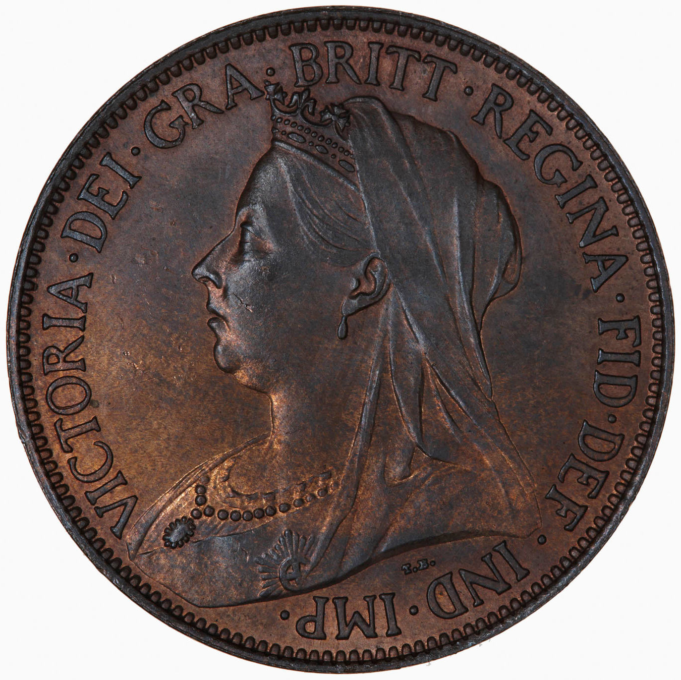Halfpenny 1895: Photo Coin - Halfpenny, Queen Victoria, Great Britain, 1895
