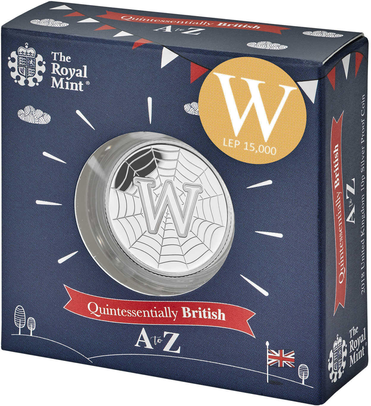 Ten Pence 2018 W - World Wide Web: Photo W - World Wide Web 2018 UK 10p Coin Silver Proof