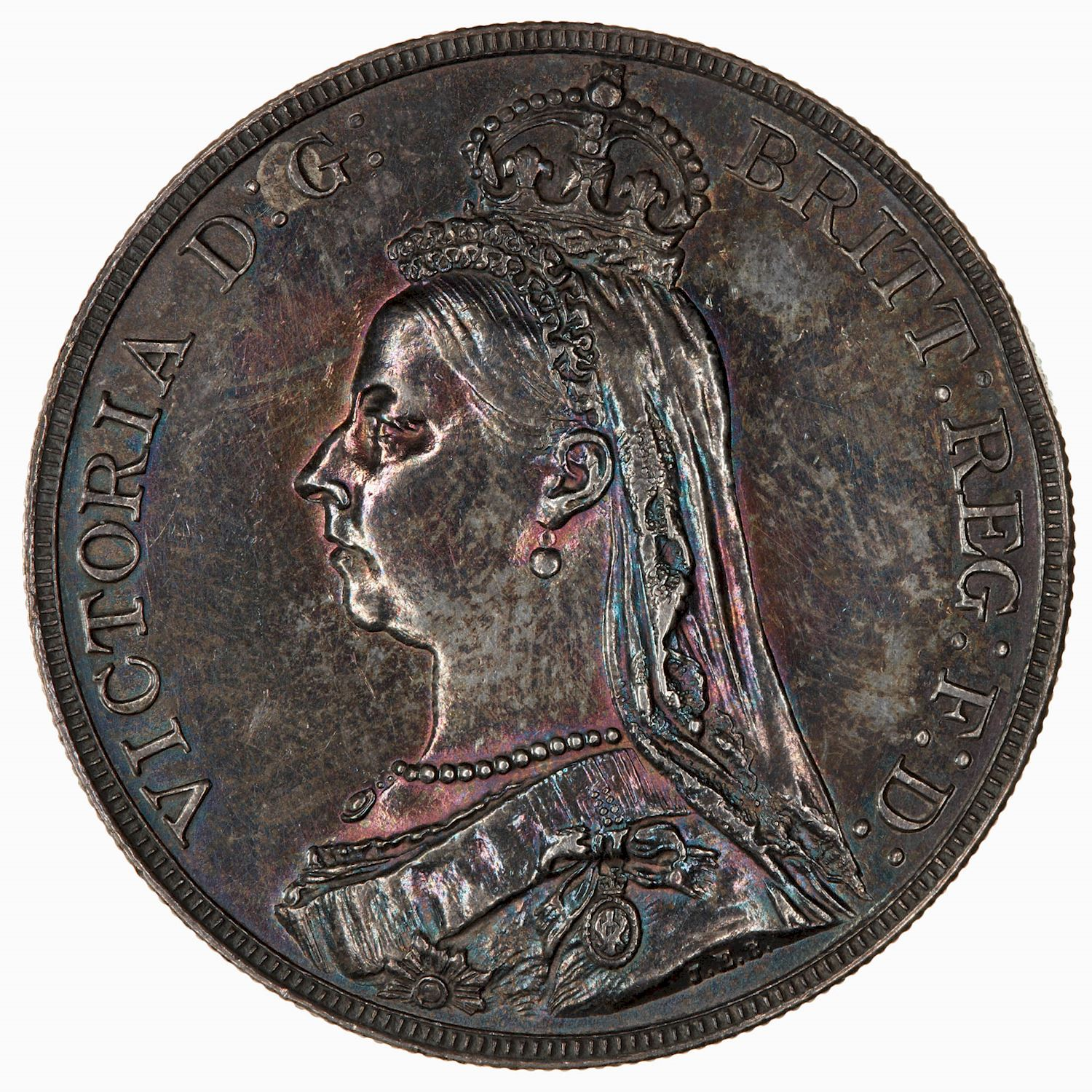Crown (St George): Photo Coin - Crown, Queen Victoria, Great Britain, 1887