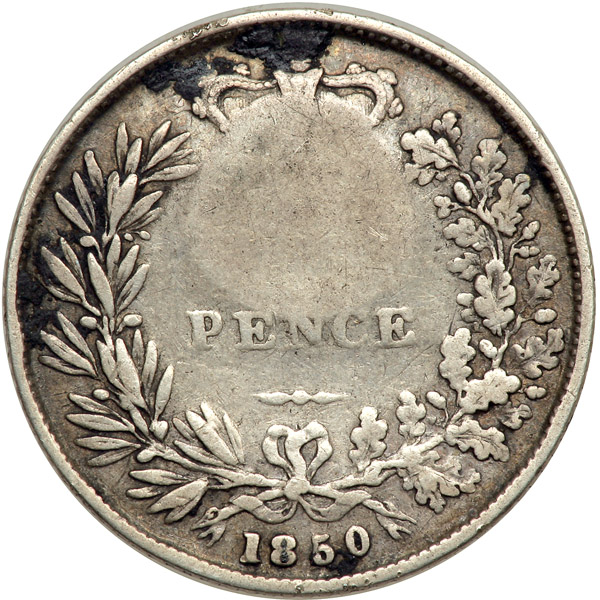 Sixpence 1850: Photo Costa Rica (1849-57) c/s real