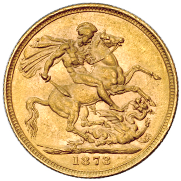 Sovereign 1873 St George: Photo Australia 1873-M sovereign