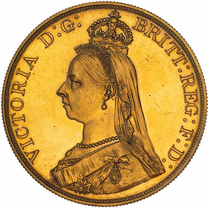 Five Pounds (Pre-decimal): Photo Pattern Coin - 5 Pounds, New South Wales, Australia, 1887
