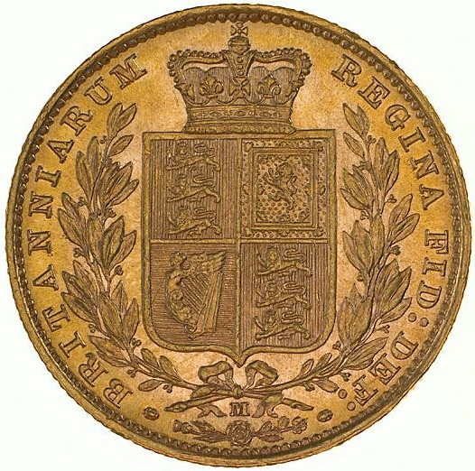 Sovereign 1885 Shield: Photo Coin - Sovereign, Victoria, Australia, 1885