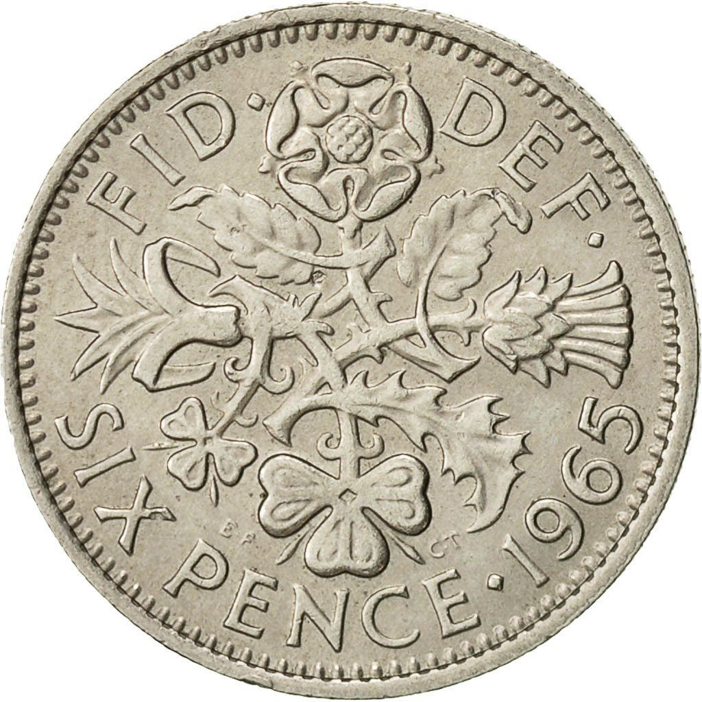 Sixpence 1965: Photo Coin, Great Britain, Elizabeth II, 6 Pence, 1965