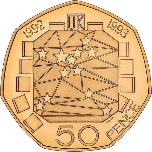 Fifty Pence 1992 Single Market: Photo 1992/93 UK Coin 50p Gold Proof