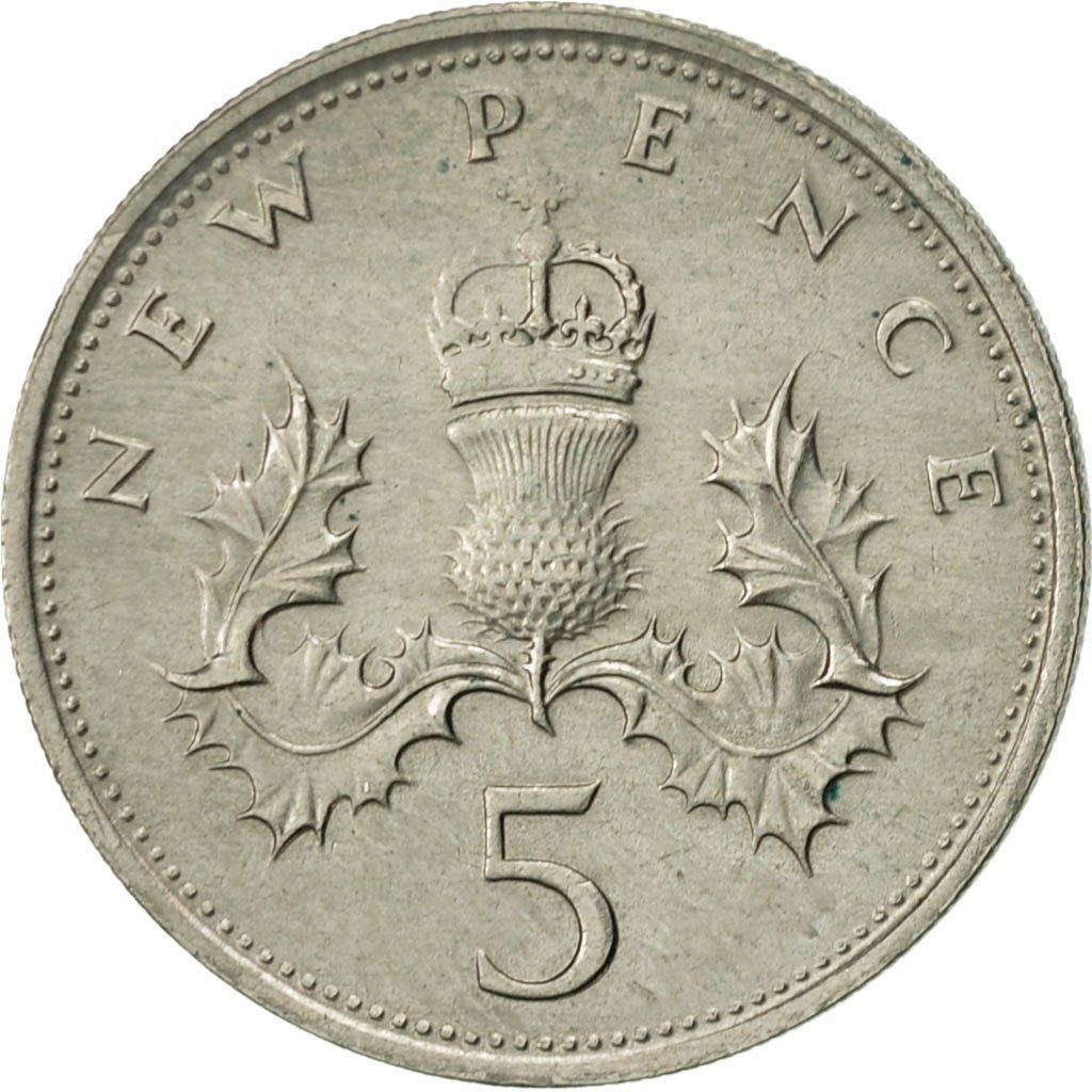 Five Pence 1969: Photo Great Britain, Elizabeth II, 5 New Pence, 1969