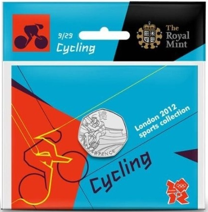 Fifty Pence 2011 - London 2012 - Cycling: Photo Royal Mint London 2012 50p­ Sports Collection - Cycling