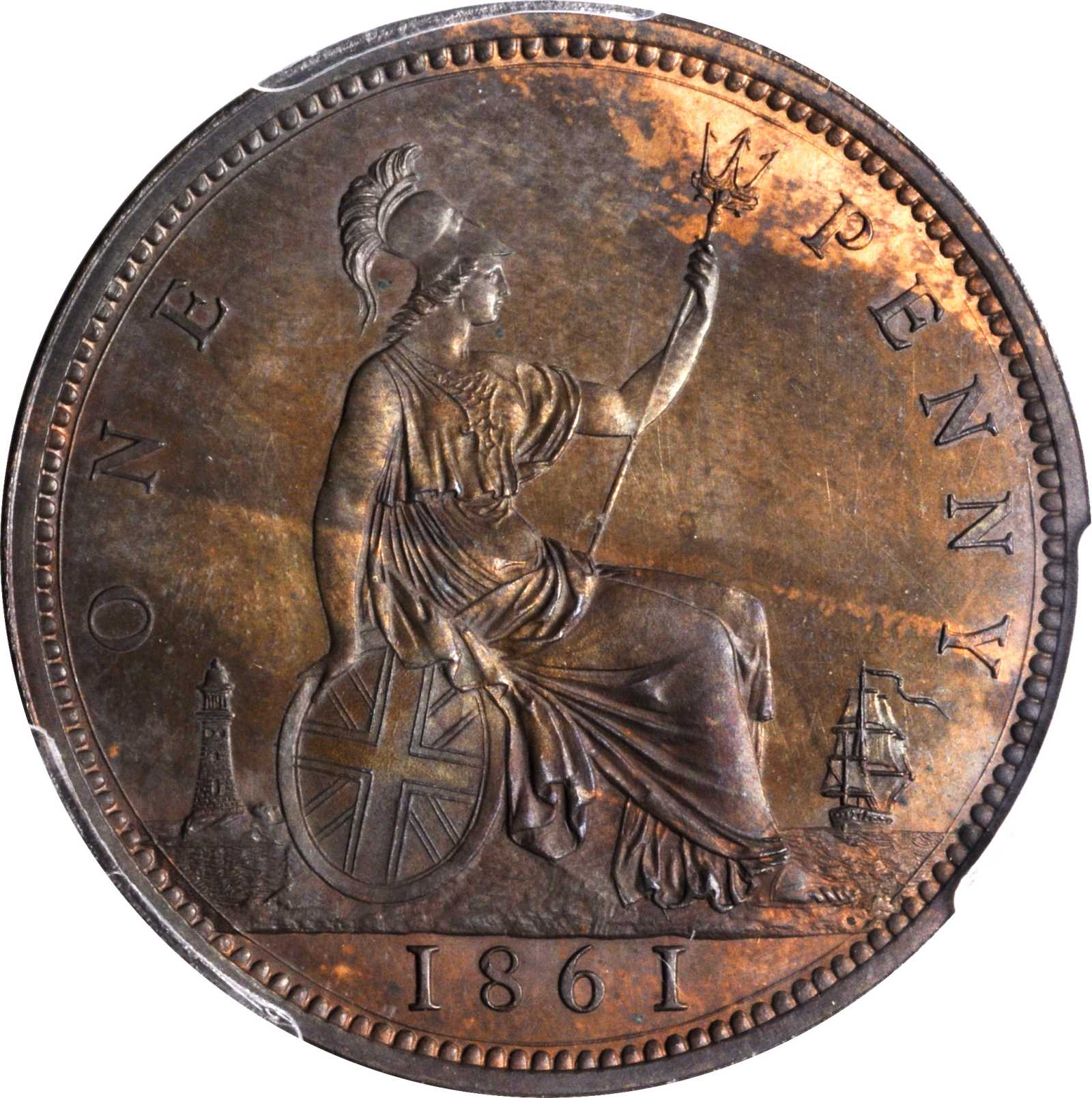 Penny (Britannia, third design): Photo Great Britain 1861 penny