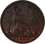 Penny 1863: Photo Coin - Penny, Queen Victoria, Great Britain, 1863