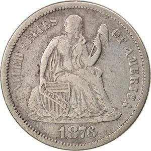 United States / One Dime 1876 Seated Liberty - obverse photo