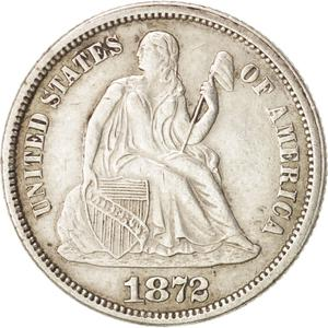 United States / One Dime 1872 Seated Liberty - obverse photo