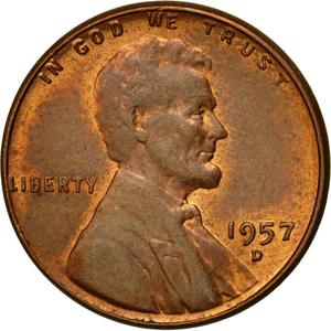 United States / One Cent 1957 Wheat Penny - obverse photo