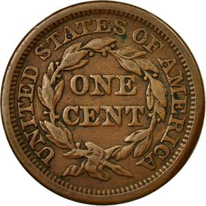 United States / One Cent 1844 Braided Hair - reverse photo