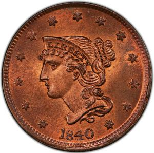 United States / One Cent 1840 Braided Hair - obverse photo