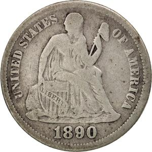 United States / One Dime 1890 Seated Liberty - obverse photo