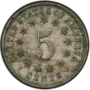 United States / Five Cents 1877 Shield Nickel - reverse photo