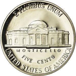 United States / Five Cents 1990 Jefferson Nickel - reverse photo