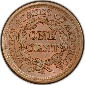 United States / One Cent 1850 Braided Hair - reverse photo