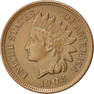 United States / One Cent 1908 Indian Head - obverse photo